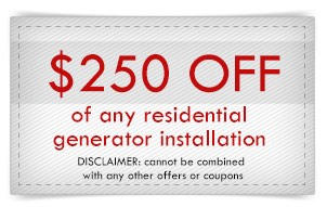 Coupon for electrical services in Newport News, Williamsburg, Yorktown and The Virginia Peninsula - Generator Installtion
